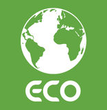 Eco Text With Earth - Planet Earth Eco Energy. Save The Planet Vector Illustration Stock Royalty Free Stock Photos