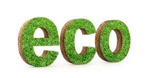 eco Text eco, Berg und grünes Gras Stockfotos