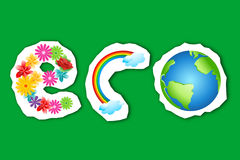 Eco text in flower, rainbow and globe Royalty Free Stock Photos