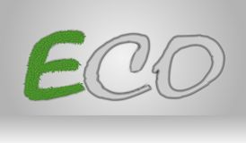 Eco text with green moss. vector illustration