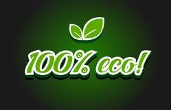 100% eco text logo icon design. 100% eco text logo creative company icon design template modern background stock illustration