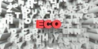 ECO - Texte rouge sur le fond de typographie - image courante gratuite de redevance rendue par 3D Images stock