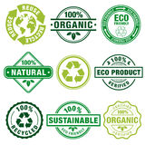 Eco Theme Plain Stamps. A comprehensive set of high detail Design stamps ecology related, suitable for paper or web publishing Royalty Free Stock Images