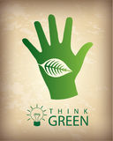 Eco think. Think green over vintage background  illustration Royalty Free Stock Image