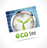 Eco time clock. Illustration of an eco time clock with leaves for hands on a blue solar panel background Stock Illustration