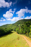 Eco-tourism. Beautiful hills landscape with hiking path royalty free stock photography