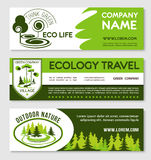 Eco tourism and green travel banner template set Royalty Free Stock Photo