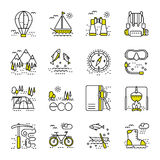 Eco tourism icons set on white background. Collection of modern line style design element. Vector illustration, can be used for web page, banner, infographics Royalty Free Stock Images