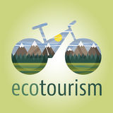 Eco tourism vector icon and logo bike. Eco tourism vector icon and logo with ecologic bike Royalty Free Stock Image