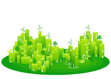 Eco town. Illustration of an ecological green town. Vector Illustration Royalty Free Stock Photos