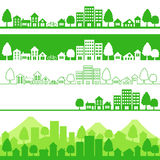 Eco town. Silhouette of eco cities.Vector illustration Stock Photos