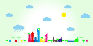 Eco town Royaltyfri Illustrationer