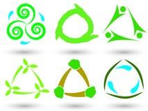 Eco trójboka ikony Obrazy Stock