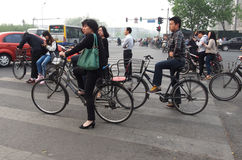 Eco traffic, bicycles in Beijing Royalty Free Stock Photos