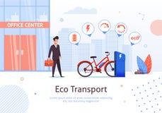 Eco transport Affärsman med den elektriska cykeln stock illustrationer