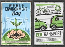 Eco transport and world environment protection day. World environment or Eco day retro vector. Environmental issues awareness, save the Earth concept. Eco royalty free illustration
