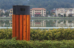 Eco trash, friendly wooden recycle bin in Sapa town, Vietnam Stock Photo