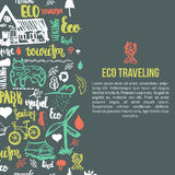 Eco travel banner on dark background. Ecology concept with lettering and hand drawn elements. Stock Photography