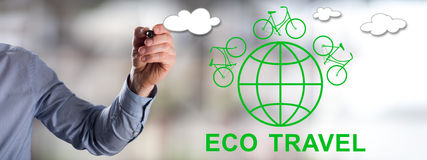 Eco travel concept drawn by a man Royalty Free Stock Photo