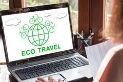 Eco travel concept on a laptop screen Royalty Free Stock Photos