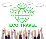 Eco travel concept pointed by several fingers. Eco travel concept on white background pointed by several fingers Stock Images