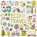 Eco travel element. Hand drawing doodles. Stock Photos