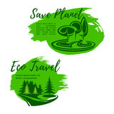 Eco travel green travel vector symbols. Green travel or ecology saving vector symbols. Planet environment protection and garbage pollution prevention in forest Stock Images