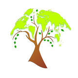 Eco tree (world map) Stock Image