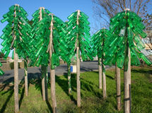 Eco trees. Bottle recycled trees forest sculpture Stock Images