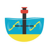 Eco turbine rotate on current strength technology vector illustration. Royalty Free Stock Image