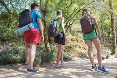Eco turism och sunt livsstilbegrepp Tre unga turister med ryggsäcklopp Royaltyfri Fotografi