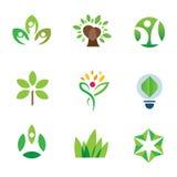 Eco-Umweltbewusstseinsgrünbaumnaturgemeinschaftslogo-Ikonensatz Stockfoto