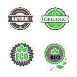 Eco und Bioaufkleber-Sammlung Stockfotos