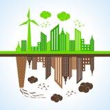 Eco und verunreinigte Stadt stock abbildung