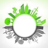 Eco und verunreinigte Stadt um Kreis Stockbild