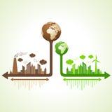 Eco und verunreinigtes Stadtkonzept mit Erde Stockfotografie