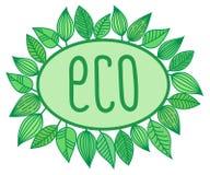 Eco undertecknar in den ovala ramen med sidor omkring, vektorillustrationen Vektor Illustrationer