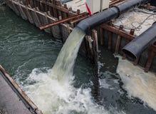 Eco-Unfall, Abwasserleitung, die den See verunreinigt Stockbilder