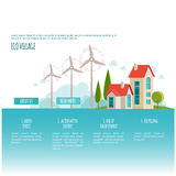Eco urban landscape. Alternative energy. Wind power. Web page concept Royalty Free Stock Photos