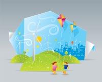 Eco väderkvarnar Stock Illustrationer