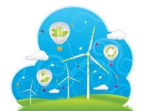Eco väderkvarnar och luftballonger Stock Illustrationer