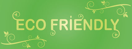 Eco vänlig etikettgräsplan med blad Arkivfoto