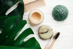 Eco vänliga naturliga bambutandborstar, schampostång, toothpast royaltyfria foton