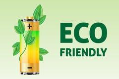 Eco vänligt begrepp med batteriet Vektor Illustrationer