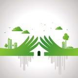 Eco vänligt handbegrepp i stads- avkänning Arkivfoto