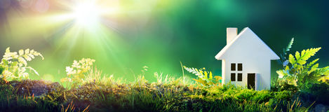Eco vänligt hus - pappershem på mossa royaltyfria bilder