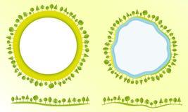 Eco vänligt jordklot med illustrationen för vektor för affär för stil för beståndsdelar för trädetikettdesign den moderna plana Royaltyfria Bilder