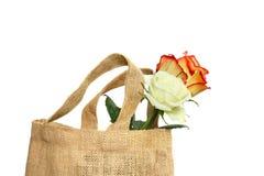 Eco-vänskapsmatch shoppingpåse Fotografering för Bildbyråer