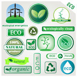 Eco vector icons and signs. Set of vector icons with main themes: ecology, recycling, organic and natural products Royalty Free Stock Images