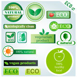 Eco vector icons and signs. Set 2 of vector icons with main themes: ecology, recycling, organic and natural products Royalty Free Stock Images